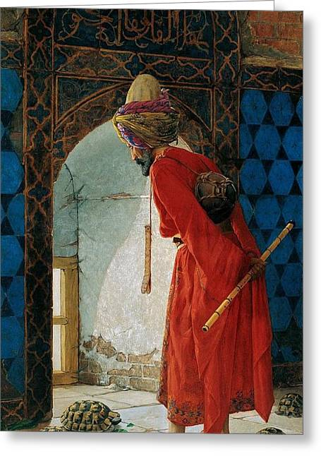 Bey Greeting Cards - Turtle Trainer Greeting Card by Osman Hamdi Bey