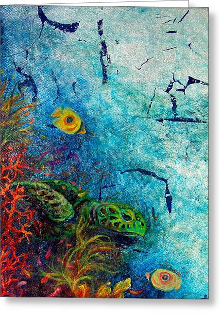 Scuba Diving Mixed Media Greeting Cards - Turtle Wall 1 Greeting Card by Ashley Kujan