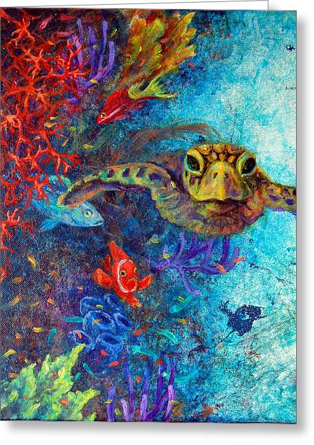 Scuba Diving Mixed Media Greeting Cards - Turtle Wall 2 Greeting Card by Ashley Kujan
