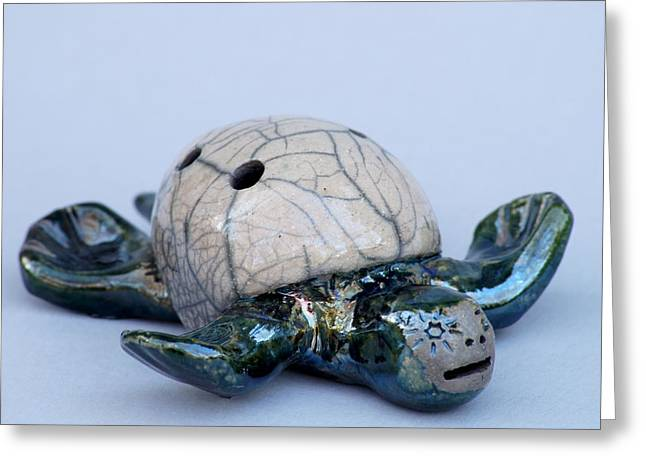 Reptiles Ceramics Greeting Cards - Turtle Whistle Greeting Card by Chip Vander Wier