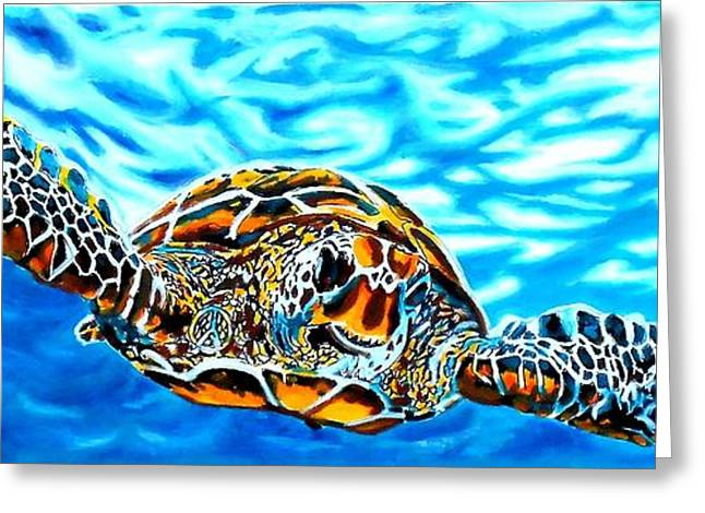 Aquarium Fish Greeting Cards - Turtle World Greeting Card by Jonathan Tyson