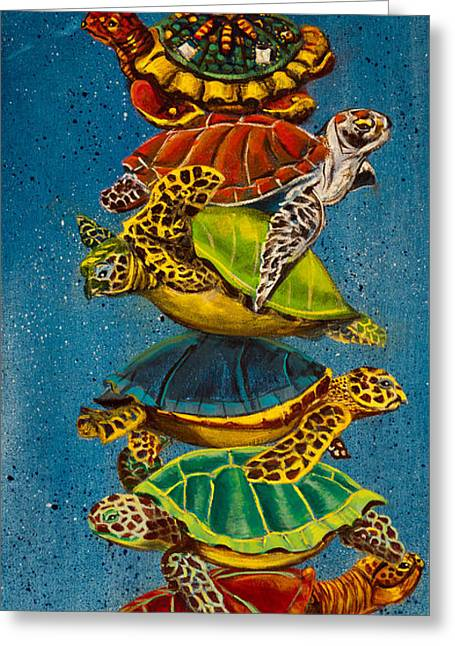 Turtles All The Way Down Greeting Card by Susan Culver