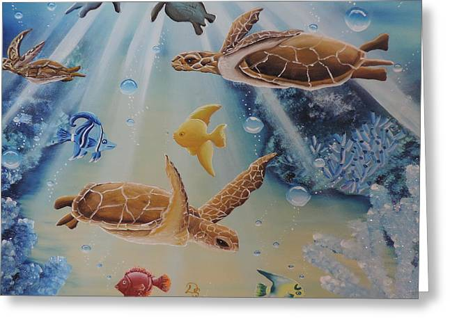 Recently Sold -  - Cushion Greeting Cards - Turtles at Sea #2 Greeting Card by Dianna Lewis