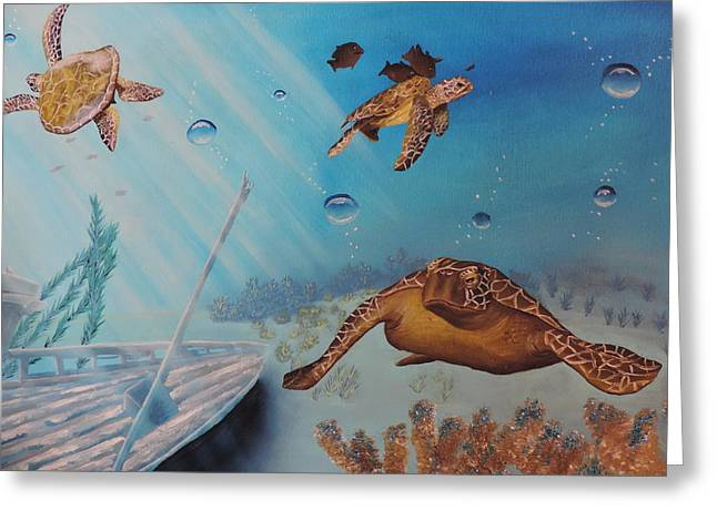 Sea Animals Greeting Cards - Turtles At Sea Greeting Card by Dianna Lewis