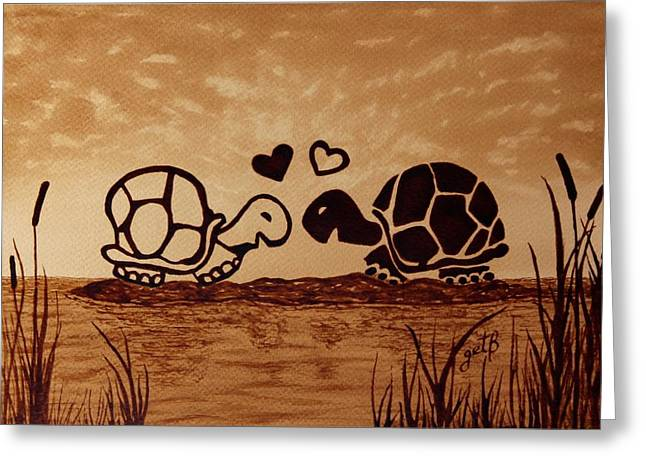 Turtles Love Coffee Painting Greeting Card by Georgeta  Blanaru