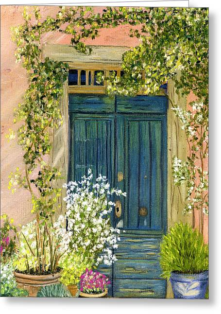 Rustic Pastels Greeting Cards - Tuscan Blue Door Greeting Card by Sarah Dowson