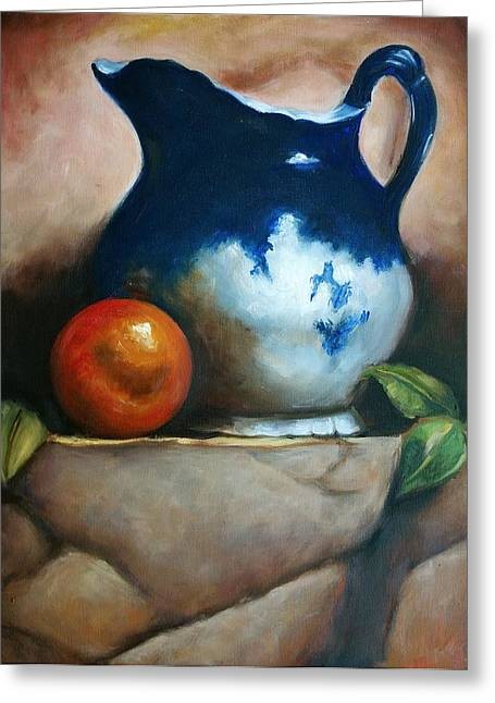 Tuscan Blue Pitcher Still Life Greeting Card by Melinda Saminski