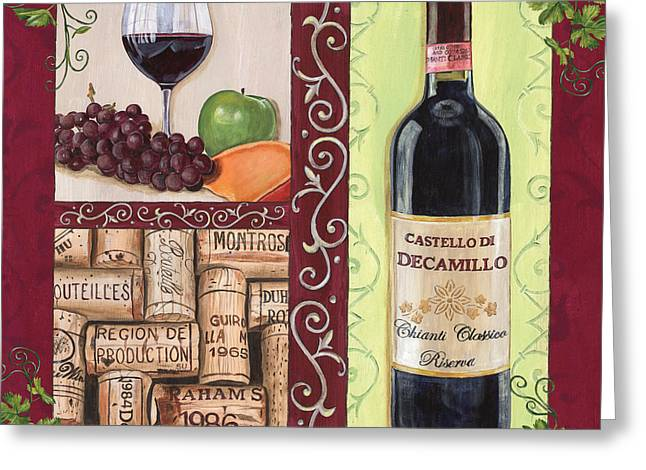 Grape Vines Paintings Greeting Cards - Tuscan Collage 2 Greeting Card by Debbie DeWitt
