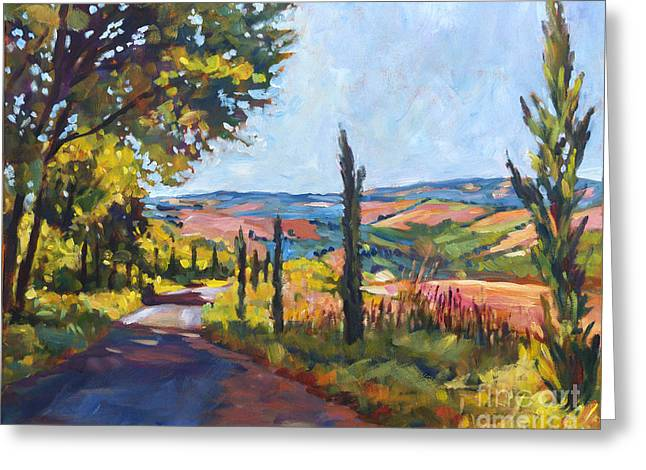 Summer Landscape Greeting Cards - Tuscan Country Road Greeting Card by David Lloyd Glover