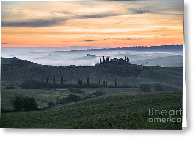 Italian Landscapes Greeting Cards - Tuscan countryside at dawn Greeting Card by Yuri Santin
