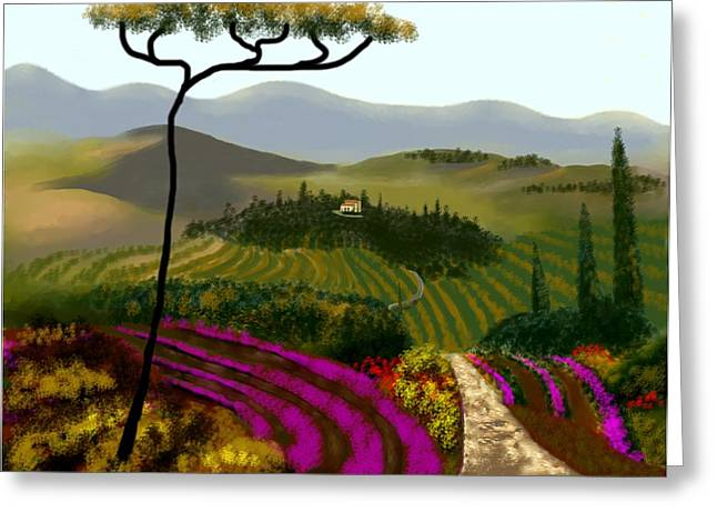 Tuscan Countryside Greeting Card by Larry Cirigliano