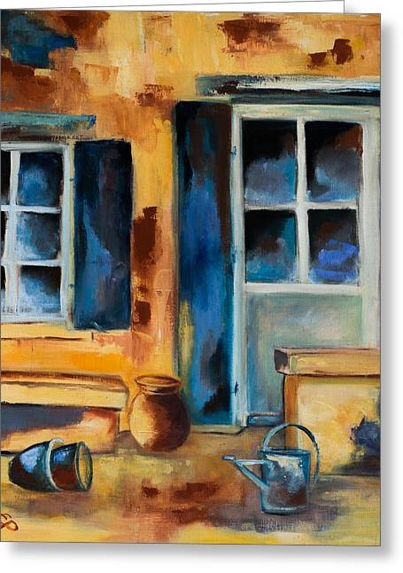 Watering Can Greeting Cards - Tuscan Courtyard Greeting Card by Elise Palmigiani