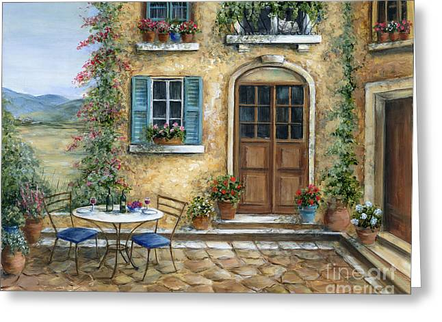 Table Wine Paintings Greeting Cards - Tuscan Courtyard With Cat Greeting Card by Marilyn Dunlap