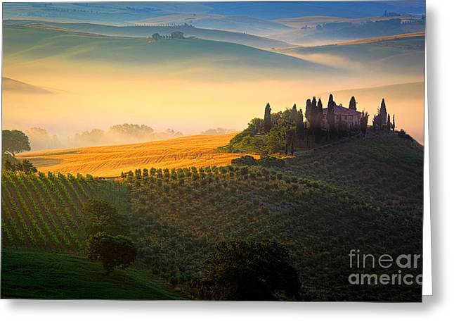 Rural Scenery Greeting Cards - Tuscan Dawn Greeting Card by Inge Johnsson