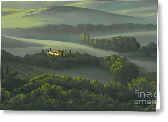 Tuscan Hills Greeting Cards - Tuscan Daybreak Greeting Card by Michael Swanson