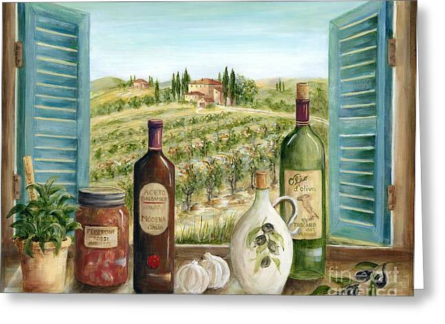 Villa Paintings Greeting Cards - Tuscan Delights Greeting Card by Marilyn Dunlap
