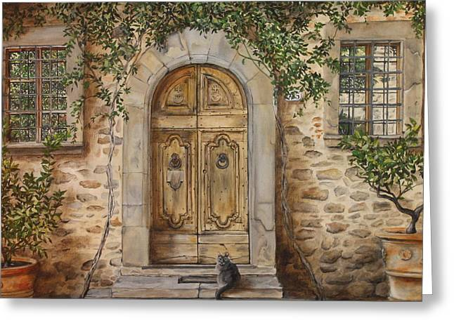 Radda In Chianti Greeting Cards - Tuscan Door Greeting Card by Lizbeth Gage