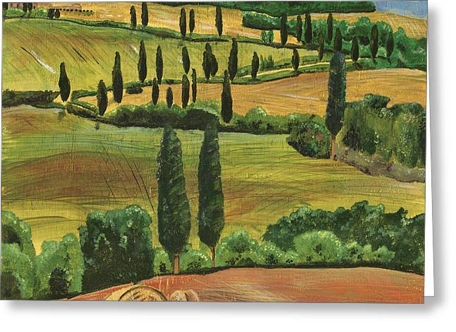 Cypress Trees Greeting Cards - Tuscan Dream 1 Greeting Card by Debbie DeWitt