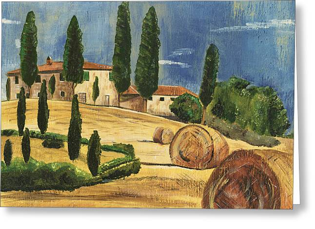 Cypress Trees Greeting Cards - Tuscan Dream 2 Greeting Card by Debbie DeWitt