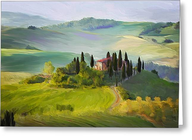 Tuscan Hills Digital Art Greeting Cards - Tuscan Dream Greeting Card by Judith Huth