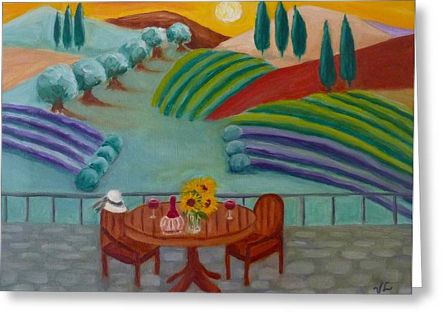 Tuscan Sunset Paintings Greeting Cards - Tuscan Dreams Greeting Card by Victoria Lakes