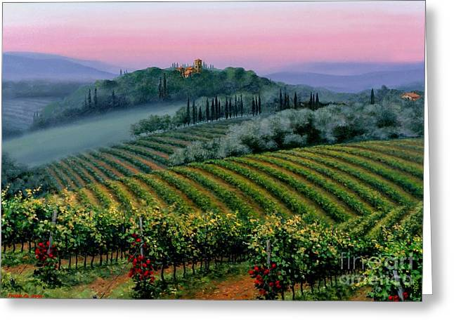 Italian Wine Greeting Cards - Tuscan dusk Greeting Card by Michael Swanson