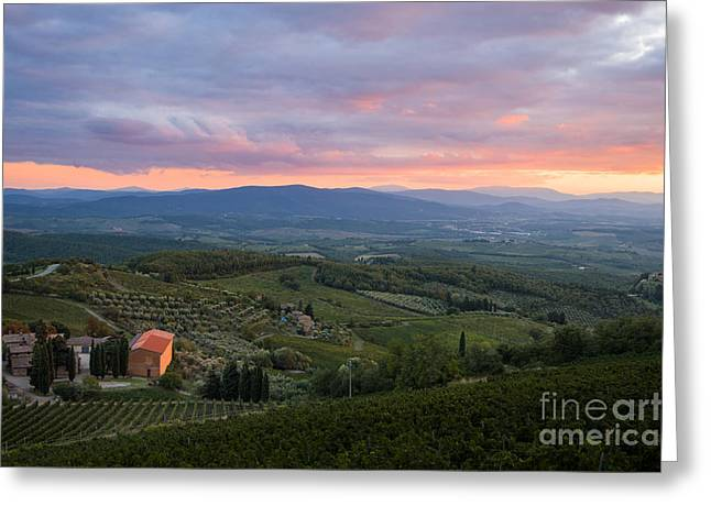 Tuscan Hills Greeting Cards - Tuscan farmhouse landscape in evening light Greeting Card by Peter Noyce