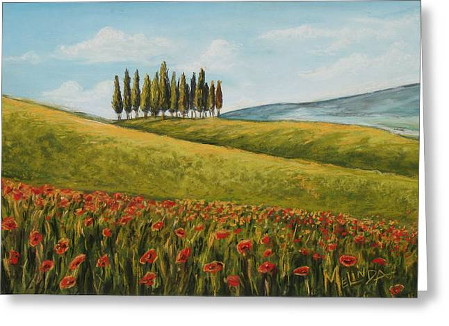 Chianti Greeting Cards - Tuscan Field With Poppies Greeting Card by Melinda Saminski