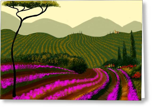 Tuscan Fields Of Color Greeting Card by Larry Cirigliano