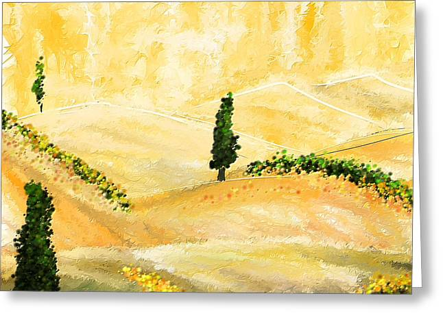 Italian Landscapes Greeting Cards - Tuscan Glow- Tuscan Impressionist Paintings Greeting Card by Lourry Legarde