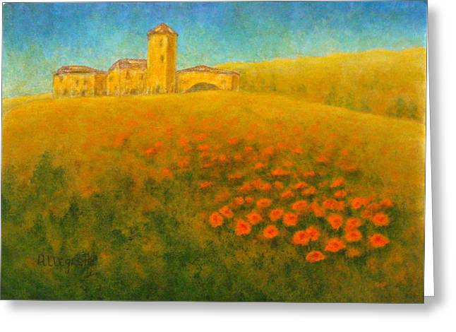 Tuscan Sunset Greeting Cards - Tuscan Gold 1 Greeting Card by Pamela Allegretto