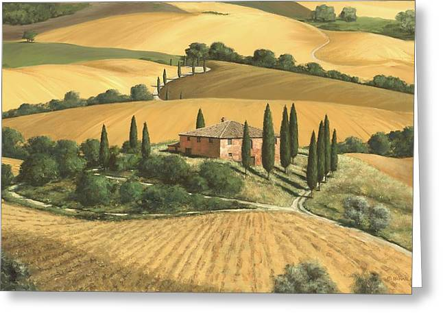 Tuscan Hills Paintings Greeting Cards - Tuscan Gold - SOLD Greeting Card by Michael Swanson
