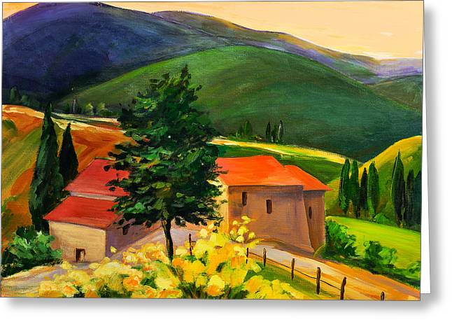 Toscana Greeting Cards - Tuscan hills Greeting Card by Elise Palmigiani
