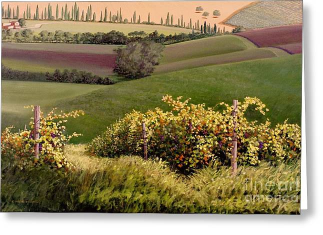 Grapevines Paintings Greeting Cards - Tuscan Hills Greeting Card by Michael Swanson