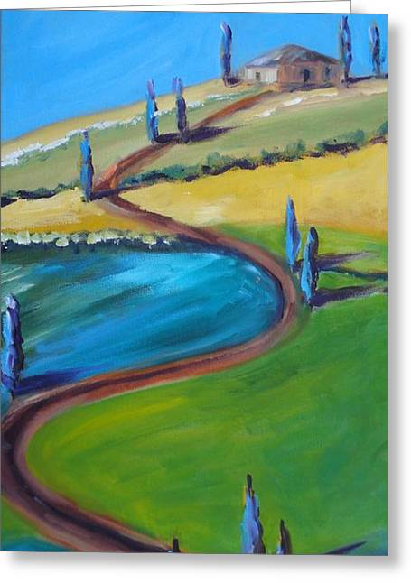 Roadway Paintings Greeting Cards - Tuscan Hillside Greeting Card by Donna Tuten