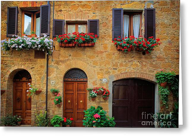 Pienza Greeting Cards - Tuscan Homes Greeting Card by Inge Johnsson