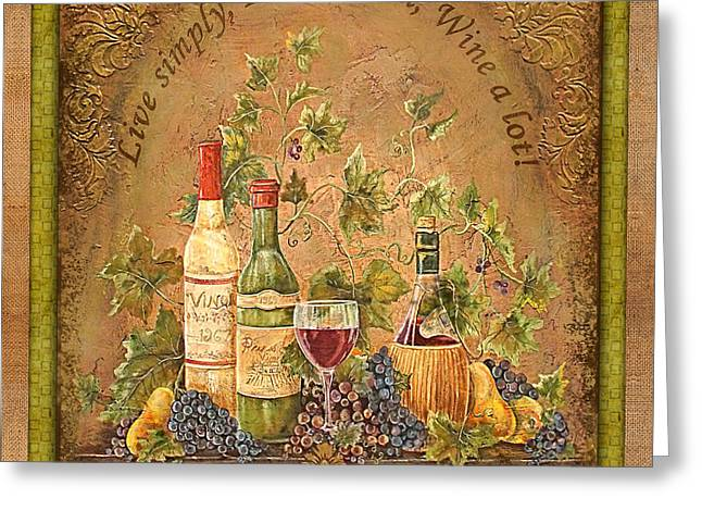 Italian Wine Greeting Cards - Tuscan Inspirations-Green Greeting Card by Jean Plout