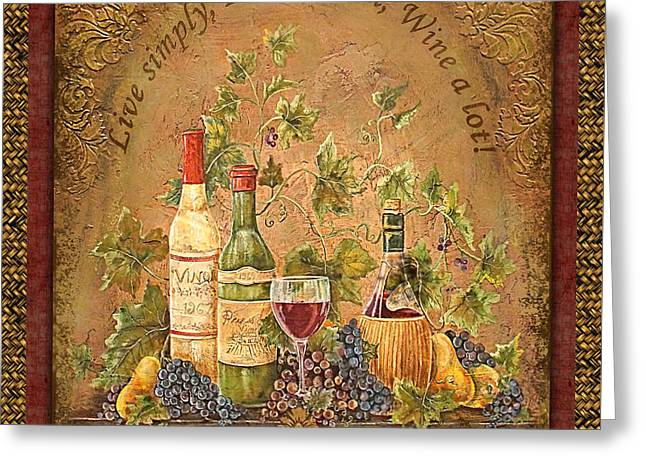 Grape Leaf Greeting Cards - Tuscan Inspirations-Live-B Greeting Card by Jean Plout