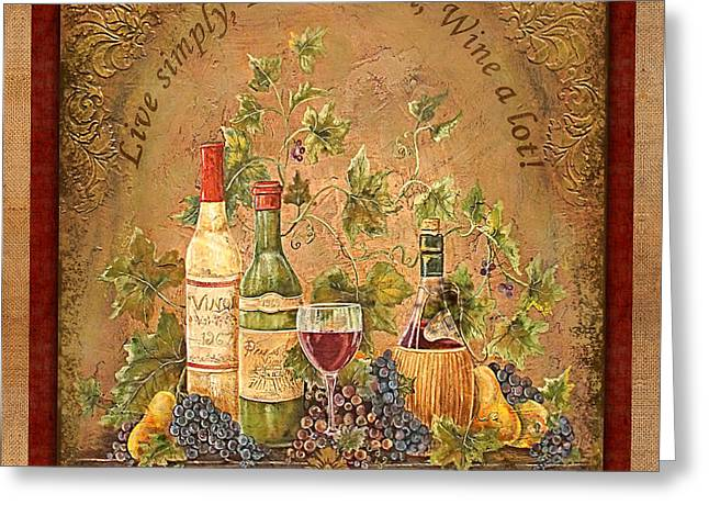 Grape Leaves Greeting Cards - Tuscan Inspirations-Red Greeting Card by Jean Plout