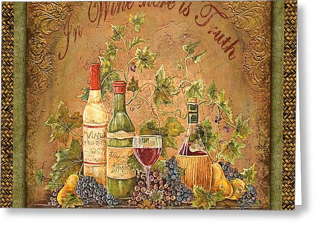 Grape Leaf Greeting Cards - Tuscan Inspirations-Truth-A Greeting Card by Jean Plout