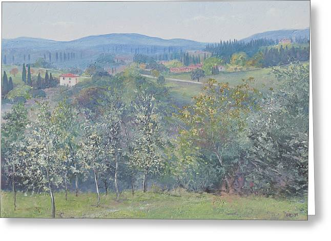 Tuscan Hills Greeting Cards - Tuscan landscape Greeting Card by Jan Matson