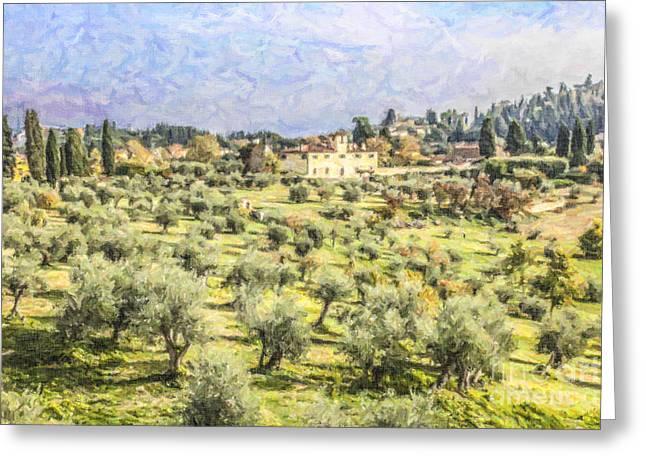 Tuscan Landscape Greeting Card by Liz Leyden