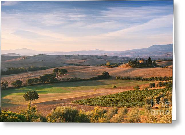 Tuscan Landscape Greeting Card by Matteo Colombo