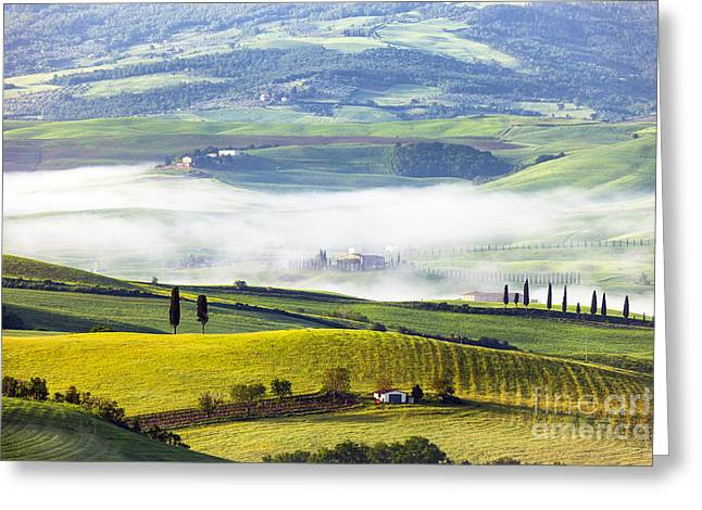 Points Pyrography Greeting Cards - Tuscan Landscape With Morning Fog Greeting Card by BM Noskowski