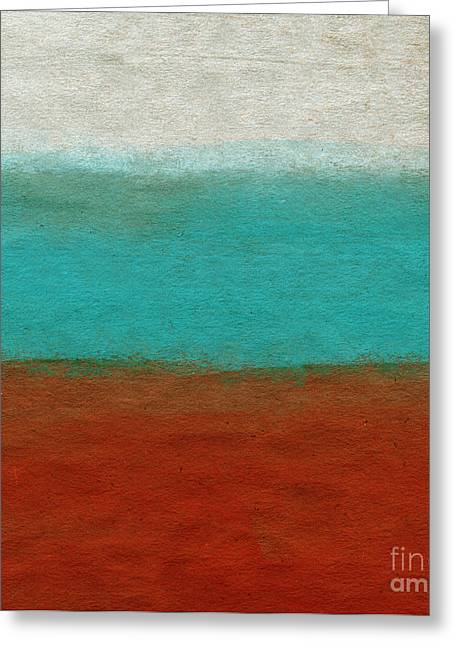 Blue And Orange Abstract Art Greeting Cards - Tuscan Greeting Card by Linda Woods