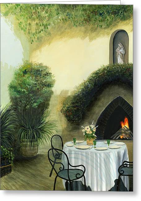 Italian Mediterranean Art Greeting Cards - Tuscan Luncheon Greeting Card by Cecilia  Brendel