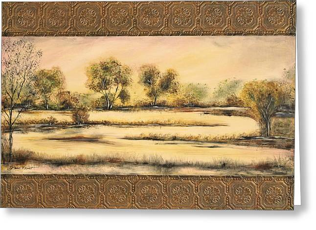 Tuscan Sunset Paintings Greeting Cards - Tuscan Marsh Greeting Card by Jean Plout