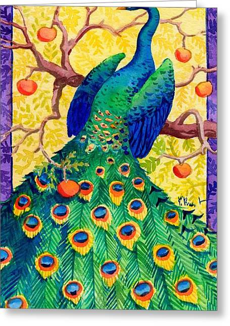 Green Fruit Greeting Cards - Tuscan Peacock Greeting Card by Paul Brent