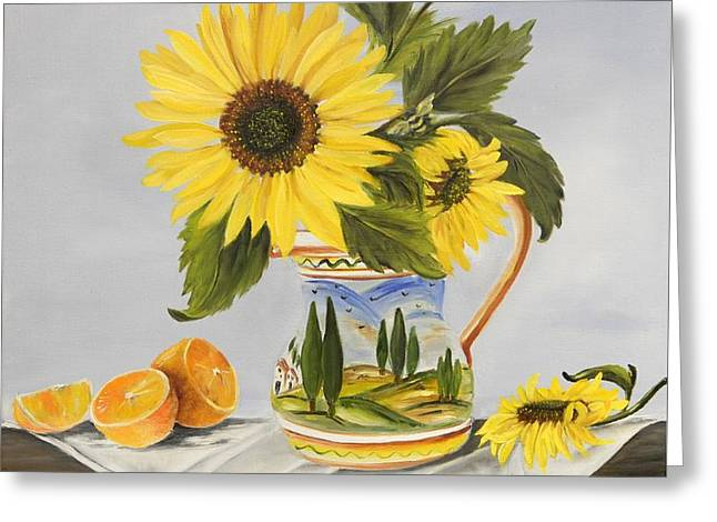 Italian Landscape Greeting Cards - Tuscan Pitcher and Sunflowers Greeting Card by Carol Sweetwood