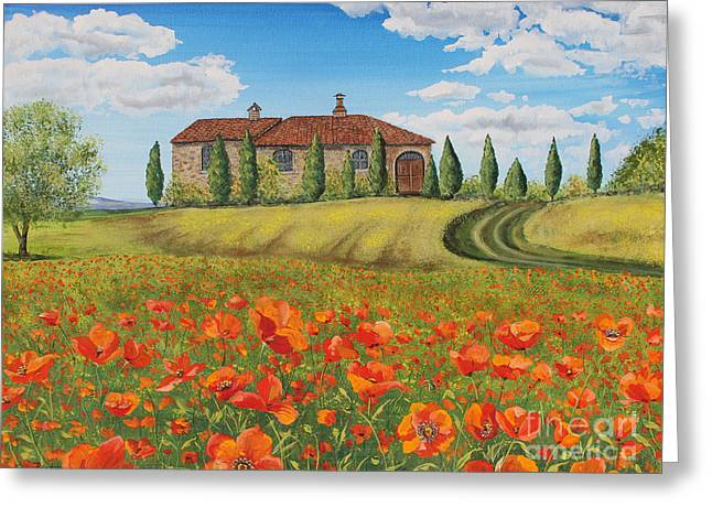 Tuscan Hills Greeting Cards - Tuscan Poppies-A Greeting Card by Jean Plout